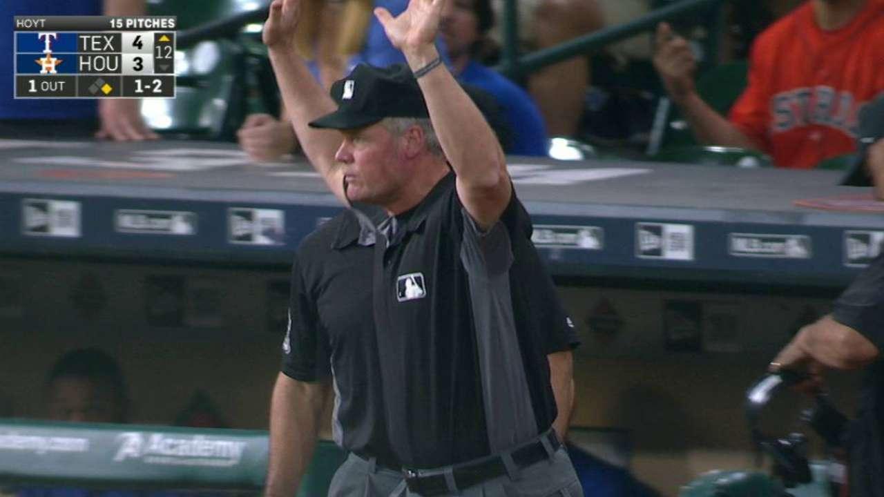Hoying's foul ball reviewed