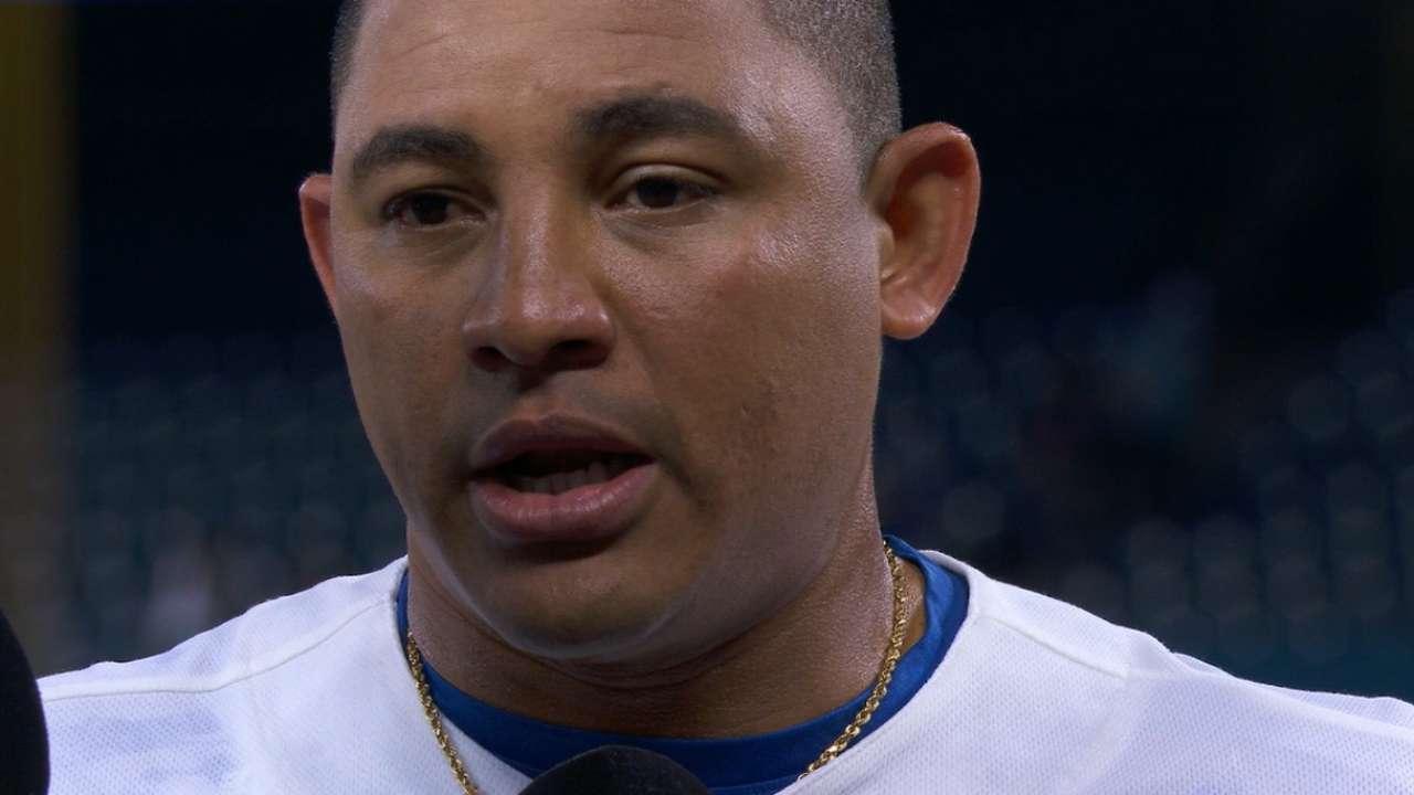 Carrera on his pinch-hit homer