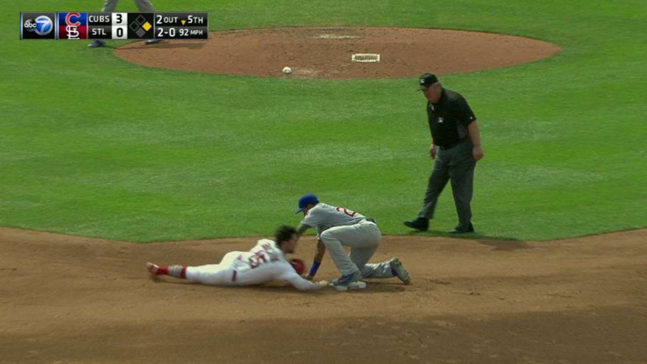 Russell tags Grichuk at second