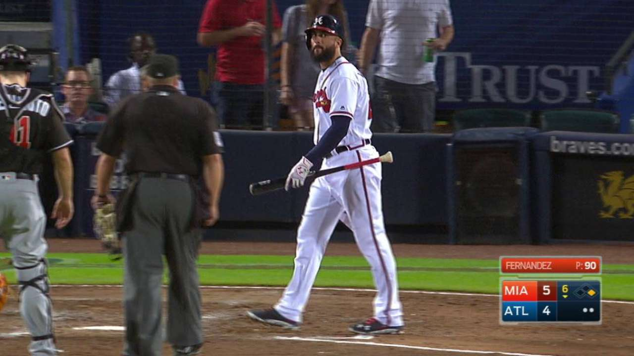 Markakis gets hit by a pitch