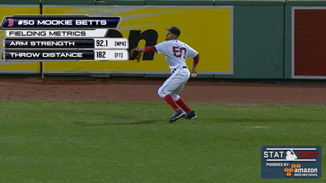 Statcast: Betts shows off arm