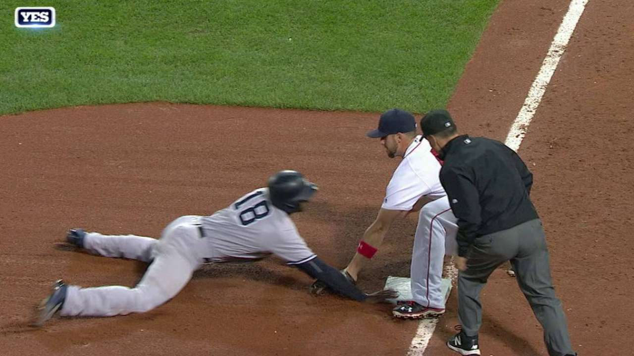 Gregorius avoids tag on steal