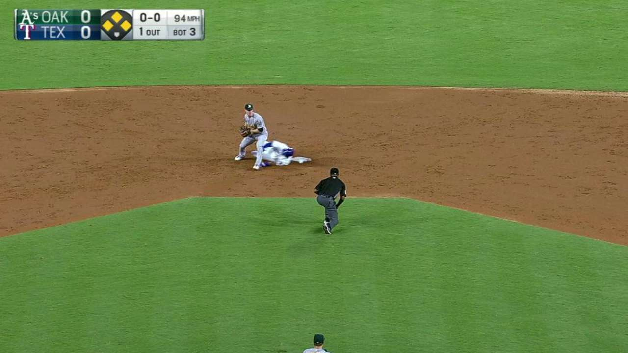 Semien starts a double play