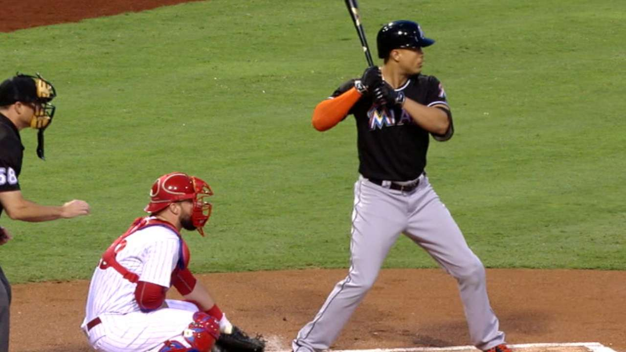 Marlins easing Stanton back in after return