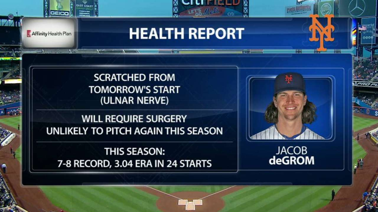 Mets shut down deGrom; nerve surgery likely