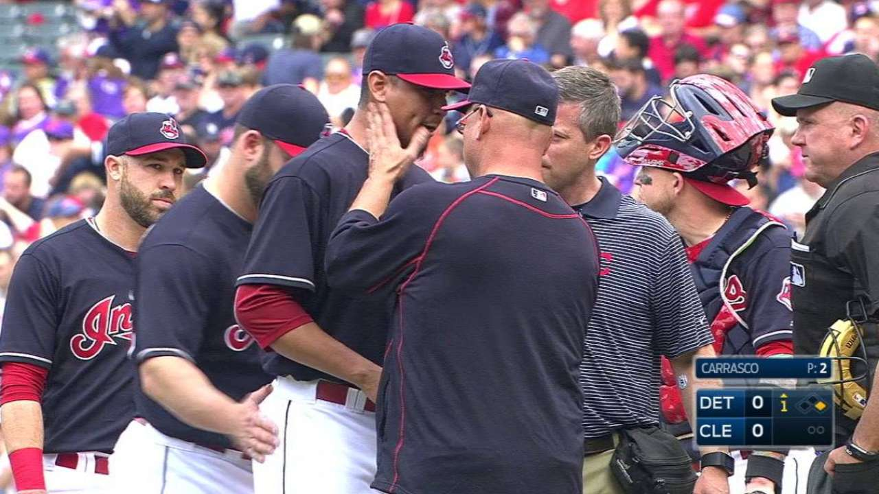 Carrasco leaves game with injury