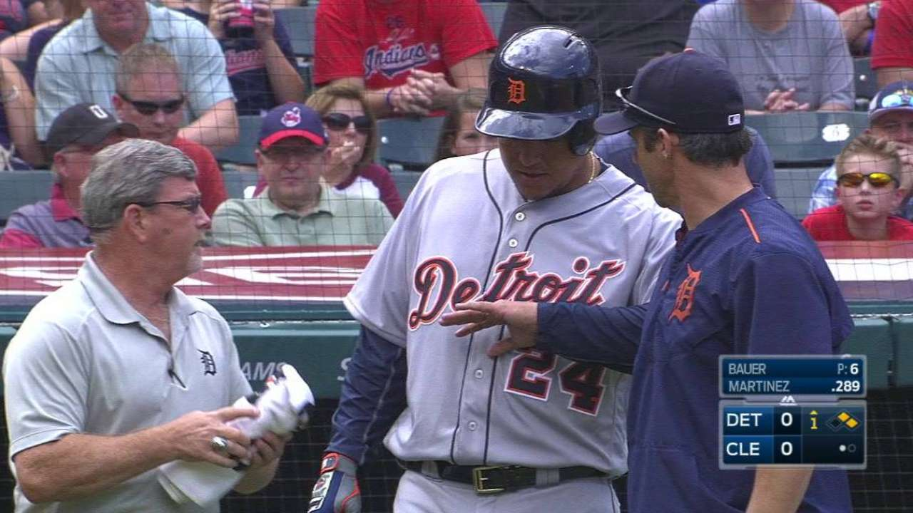 Miggy takes a pitch off the hand