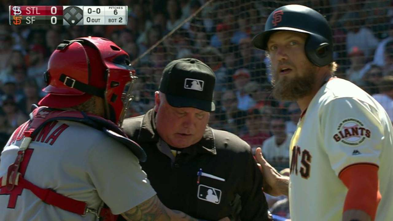 Umpire exits game in SF after foul strikes mask