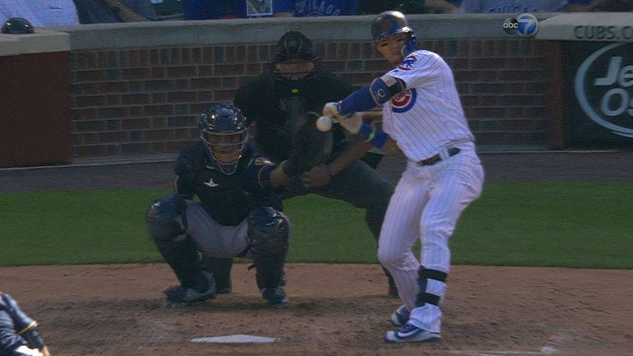 Baez gets hit by a pitch