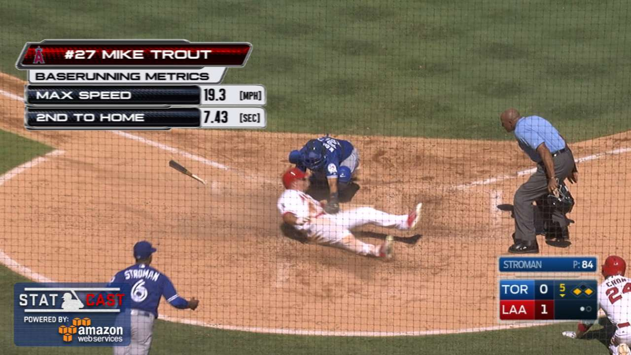 Statcast of the Day: Trout's slide dazes Jays