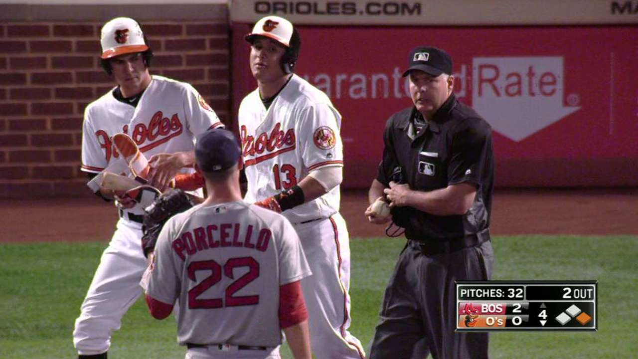 Machado gets hit by a pitch