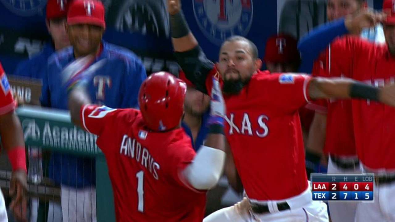 Andrus' big fly ties the game