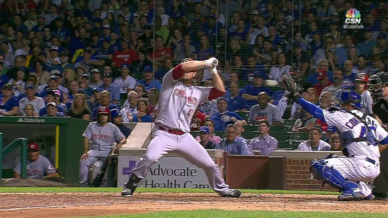 Reds challenge for a HBP