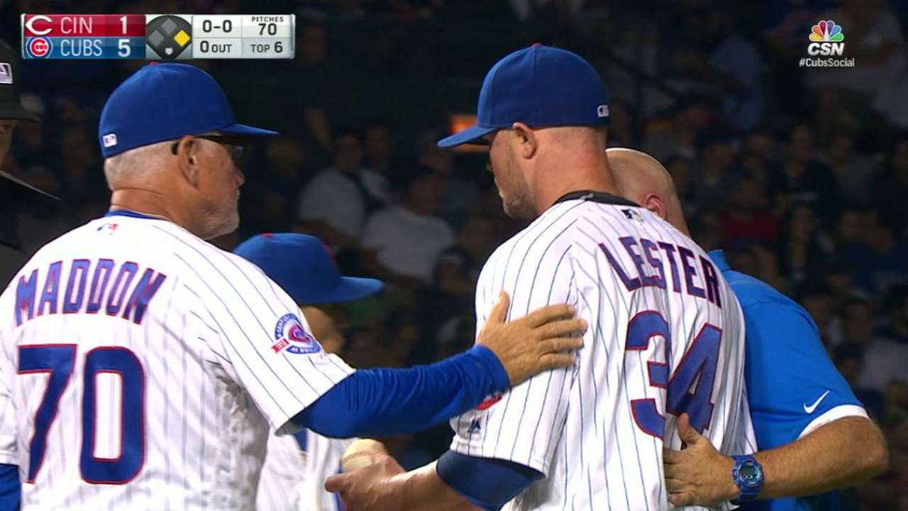 Lester hit with comebacker