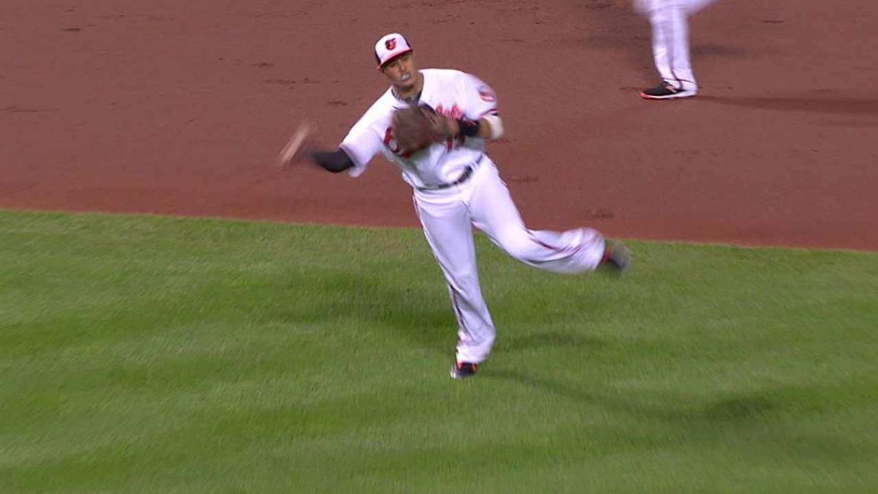 Machado's strong throw