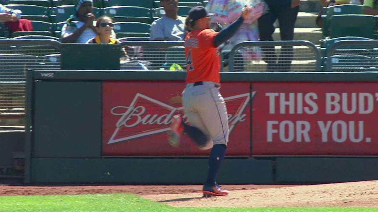 Springer's fine running catch