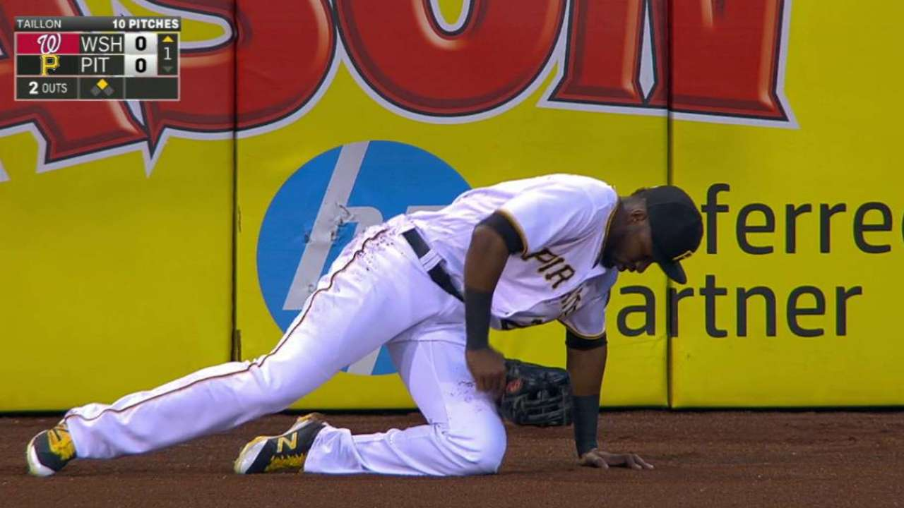 Wall collision forces Polanco out in 1st inning