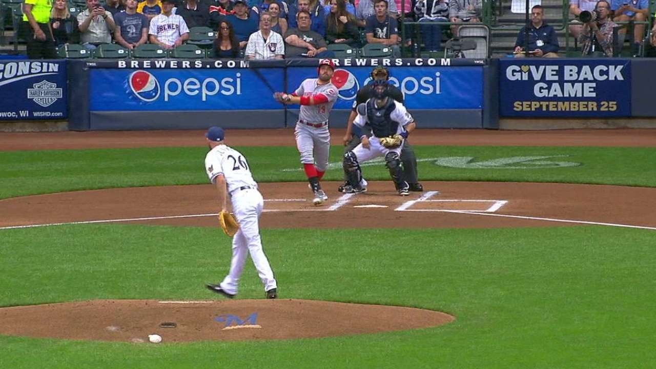 Votto maintains hot hitting at Miller Park
