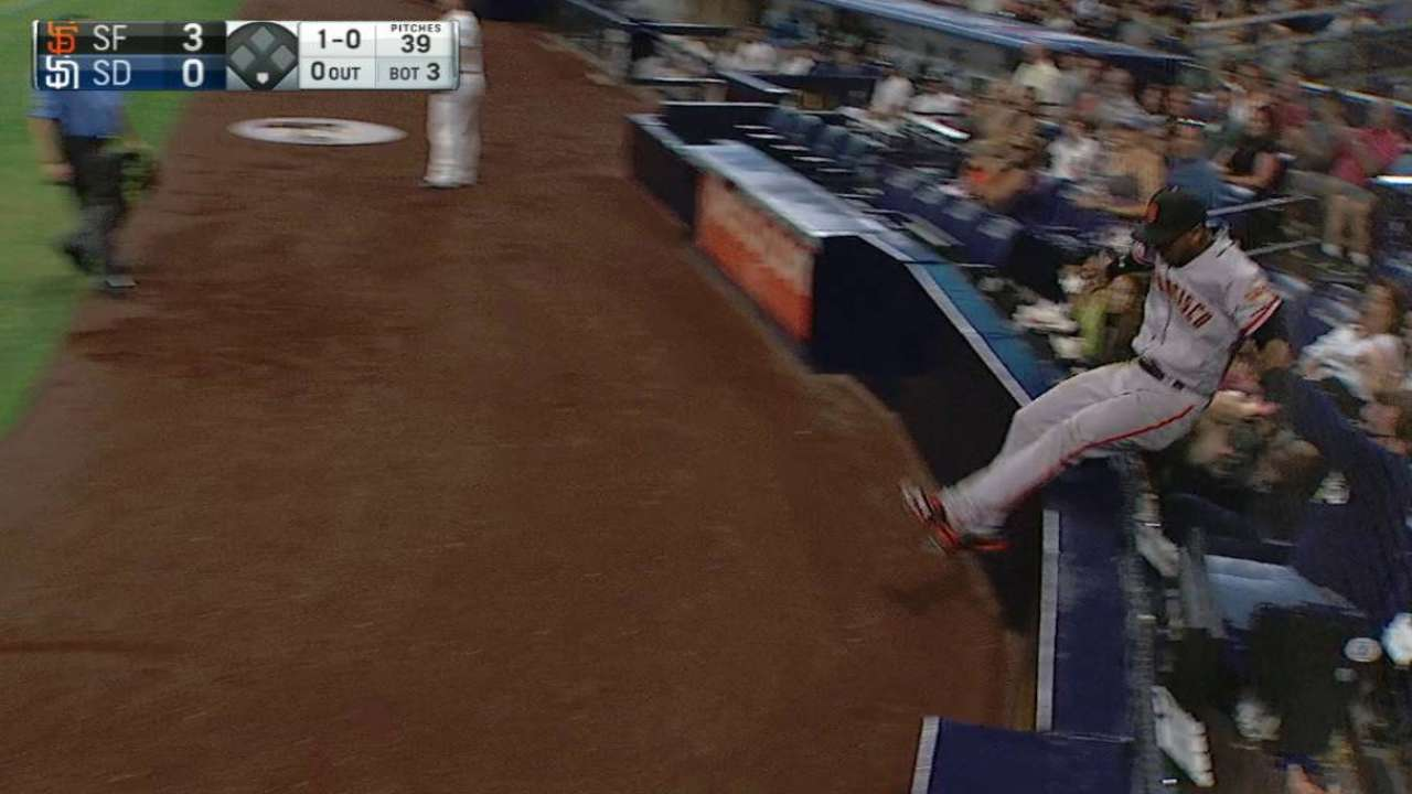 Giants' Nunez takes a seat after unlikely grab