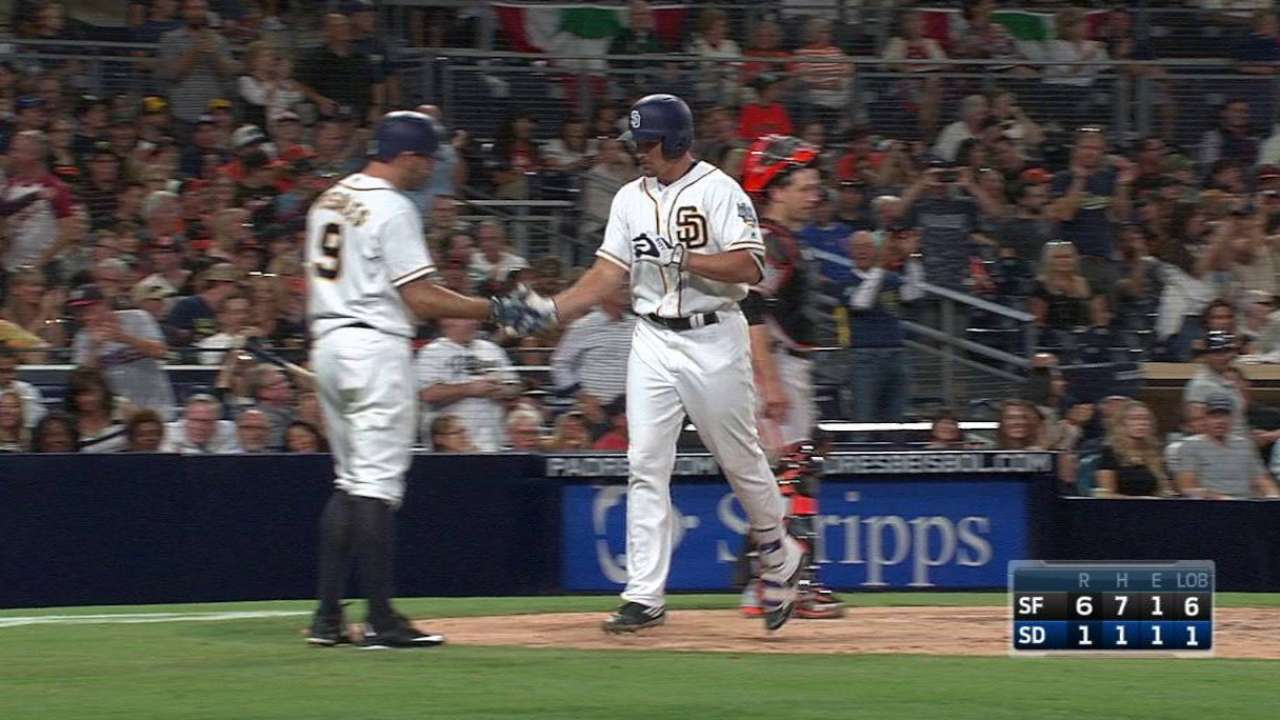 Rookies fuel Padres' big rally before loss in extras