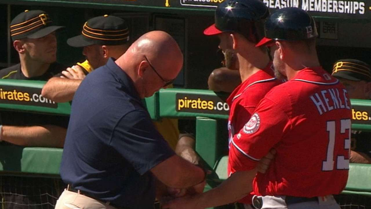 Harper exits with sore thumb after awkward slide