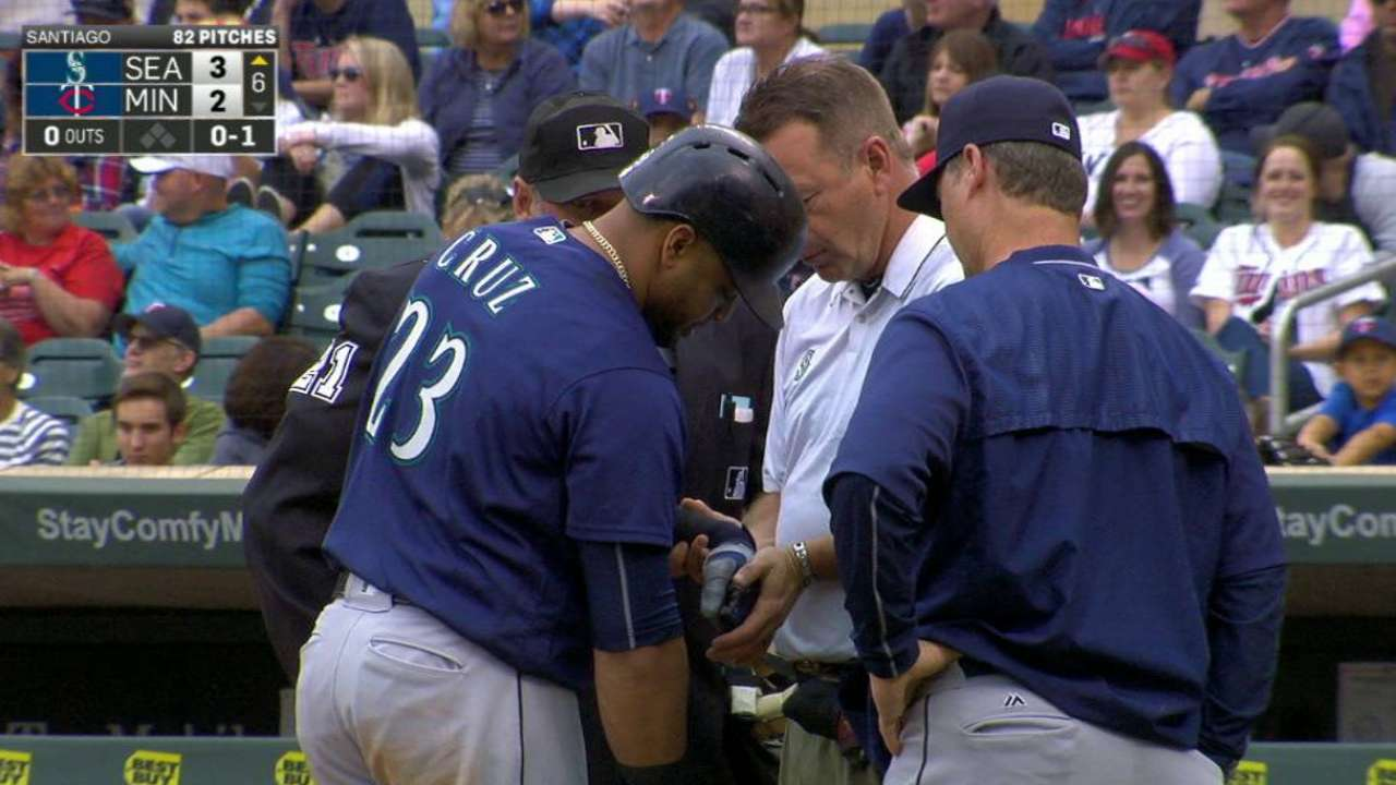 Cruz gets checked by the trainer
