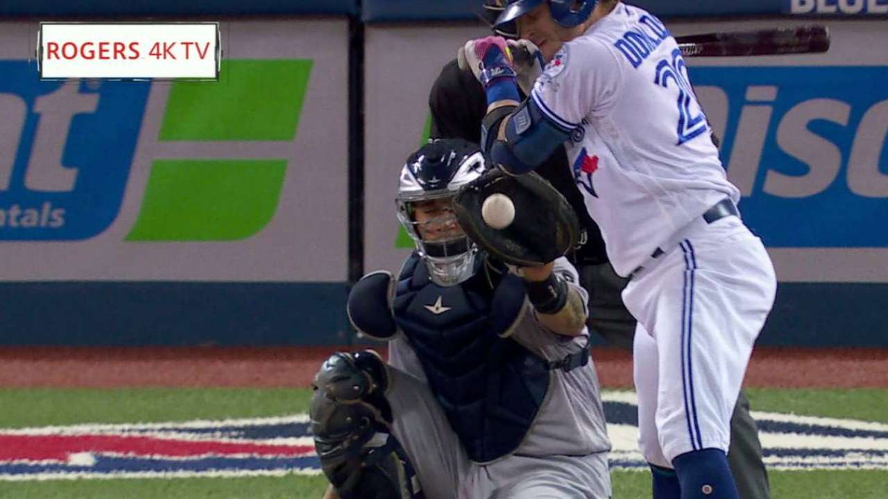 Donaldson hit by pitch