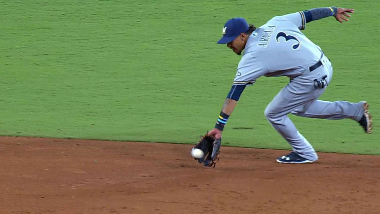 Arcia's jump throw