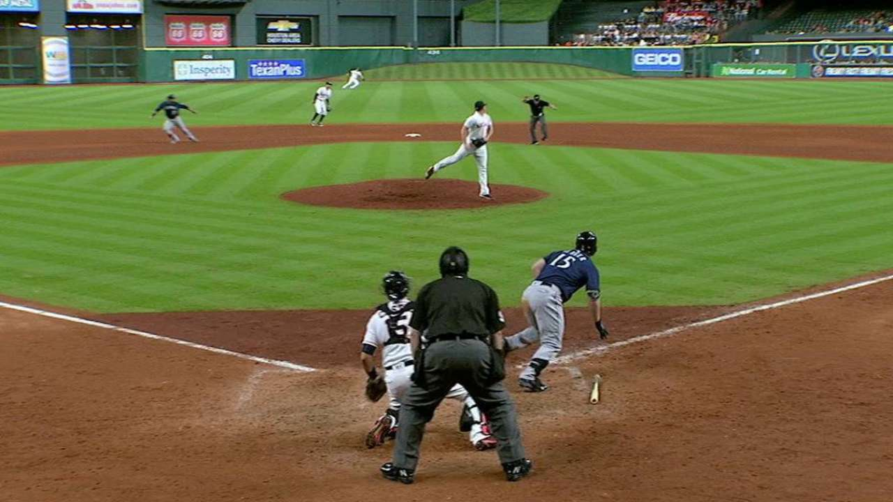 Seager's liner hits the umpire