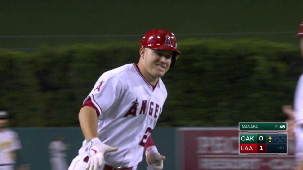 Trout goes deep as Angels top A's