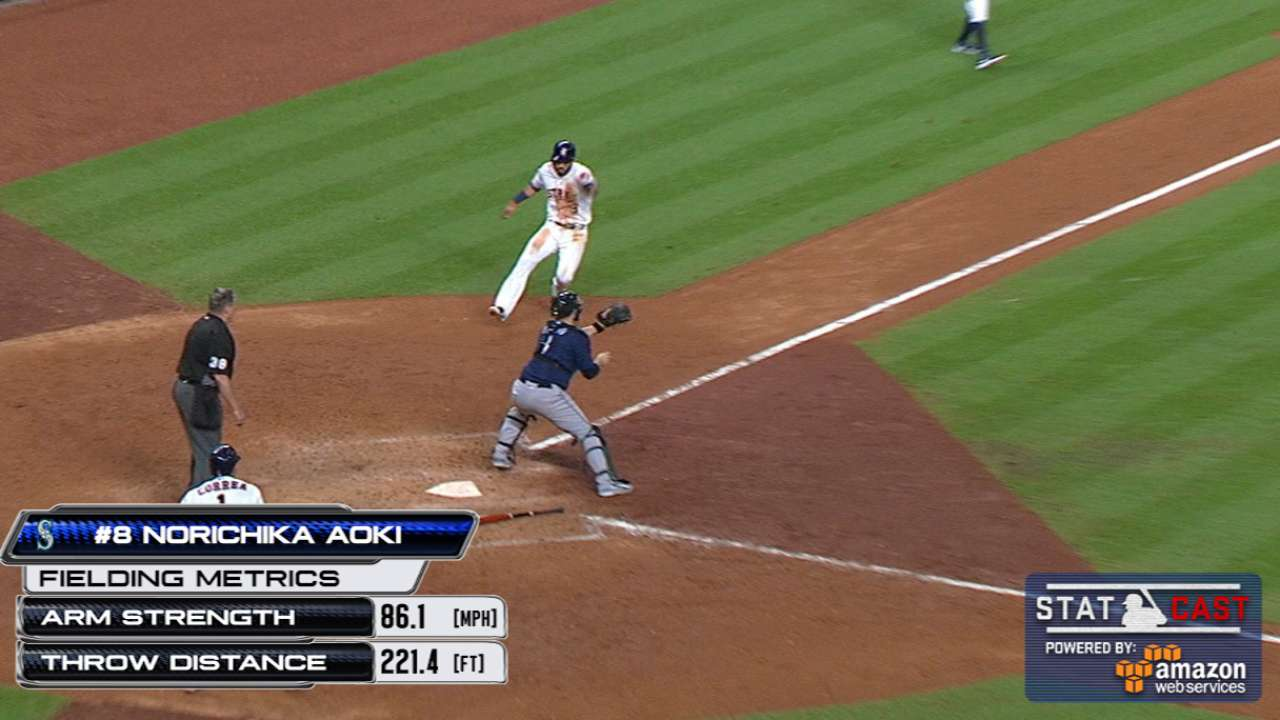 Statcast: Aoki's throw home