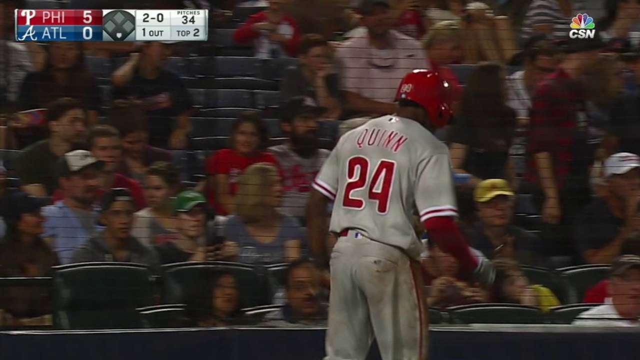 Quinn scores on errant throw