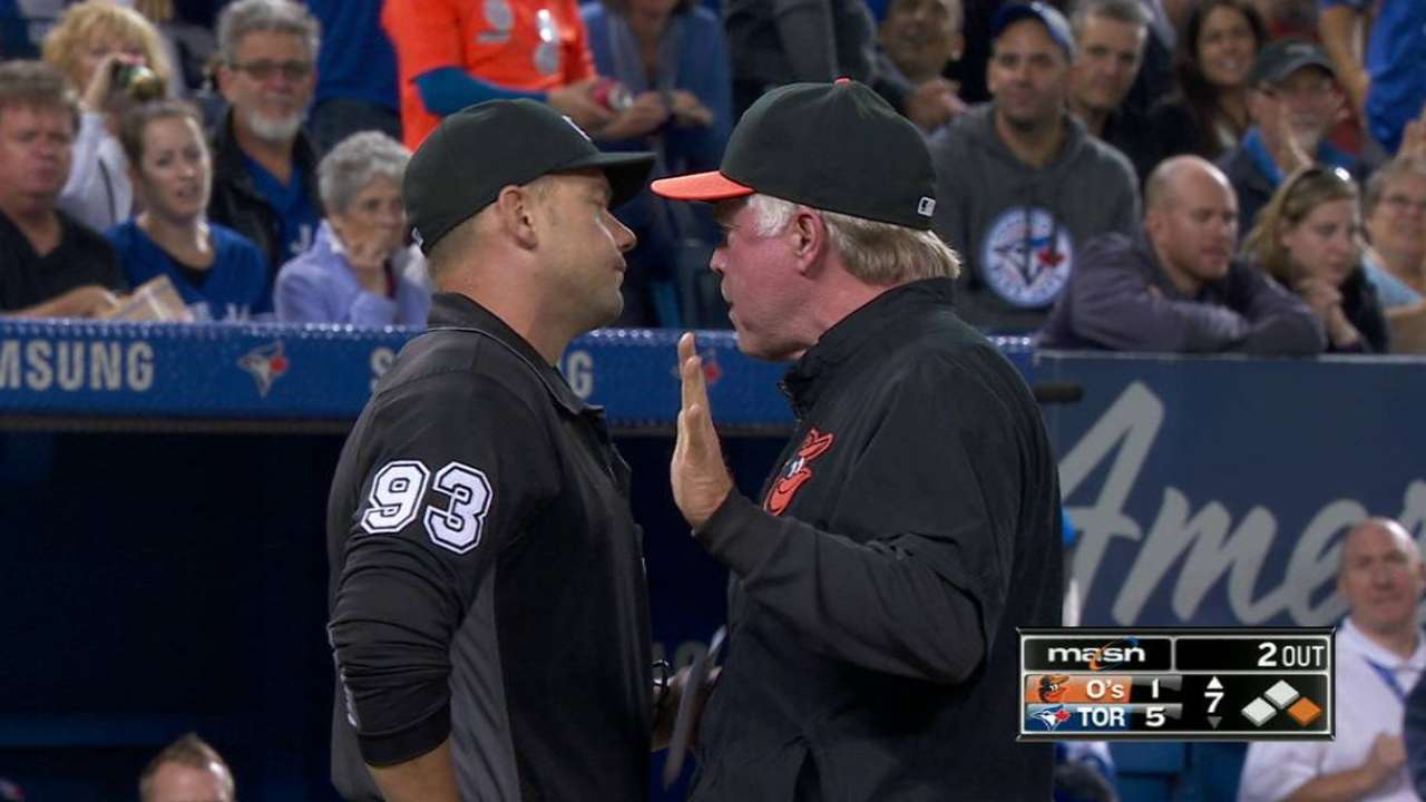 Davis, Showalter ejected for arguing strike zone