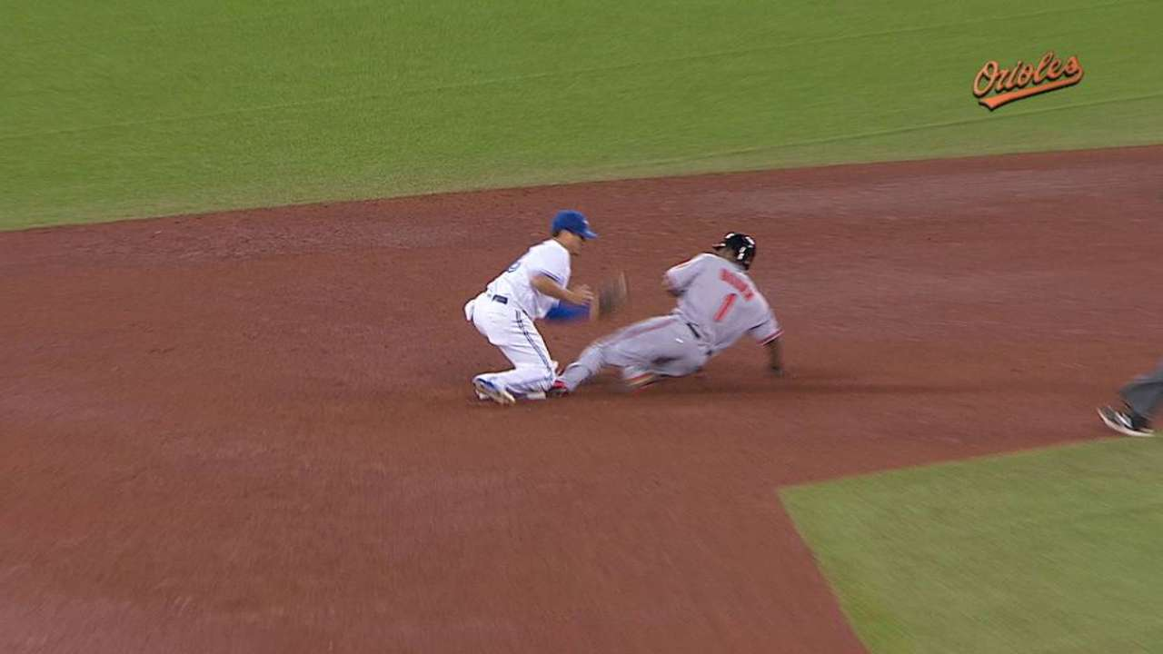 Bourn swipes second base