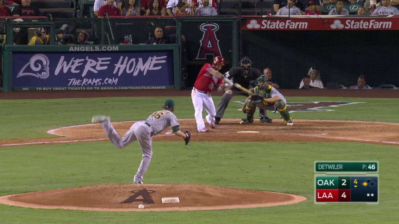 Calhoun Homers to Help Angels Complete Sweep of A's