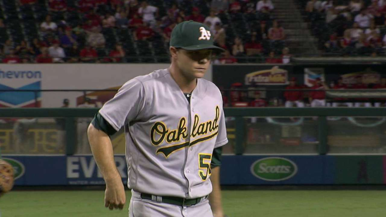 Gray's return to mound short but sweet for A's
