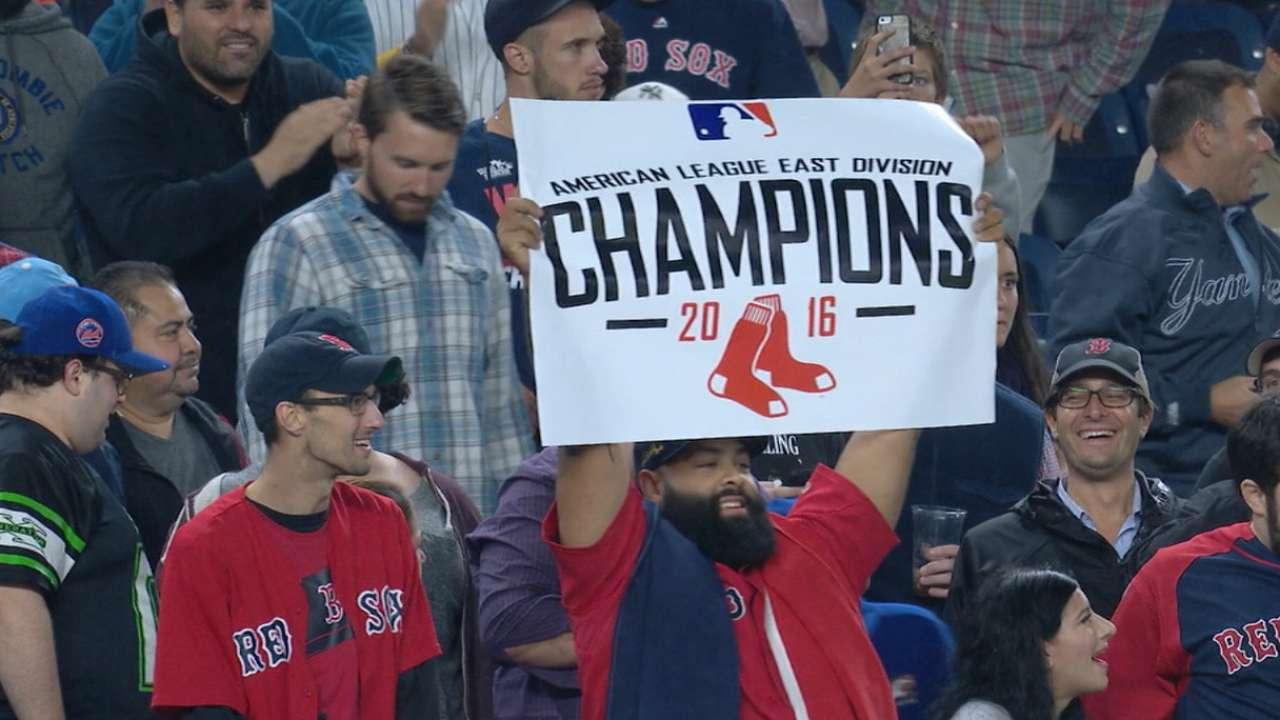 Red Sox win 3rd AL East title in 10 seasons
