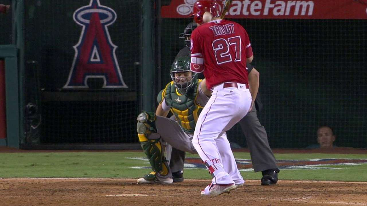Trout leaves game after hit by pitch