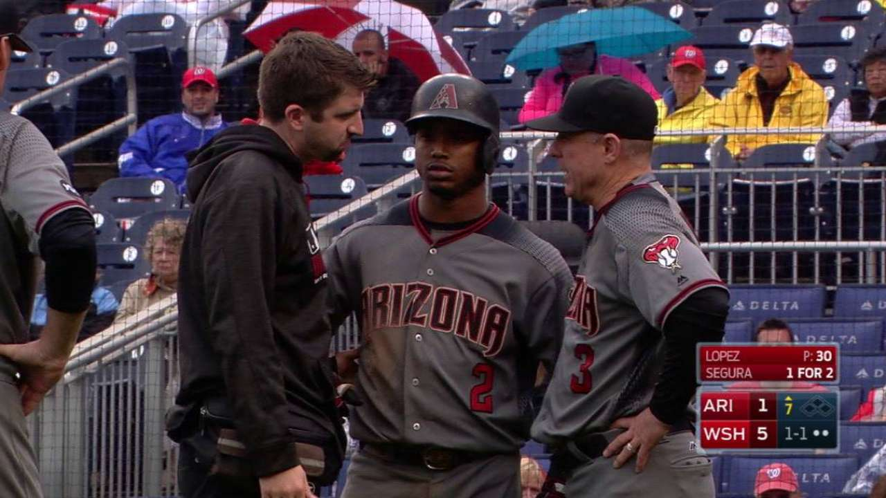Segura exits with an injury