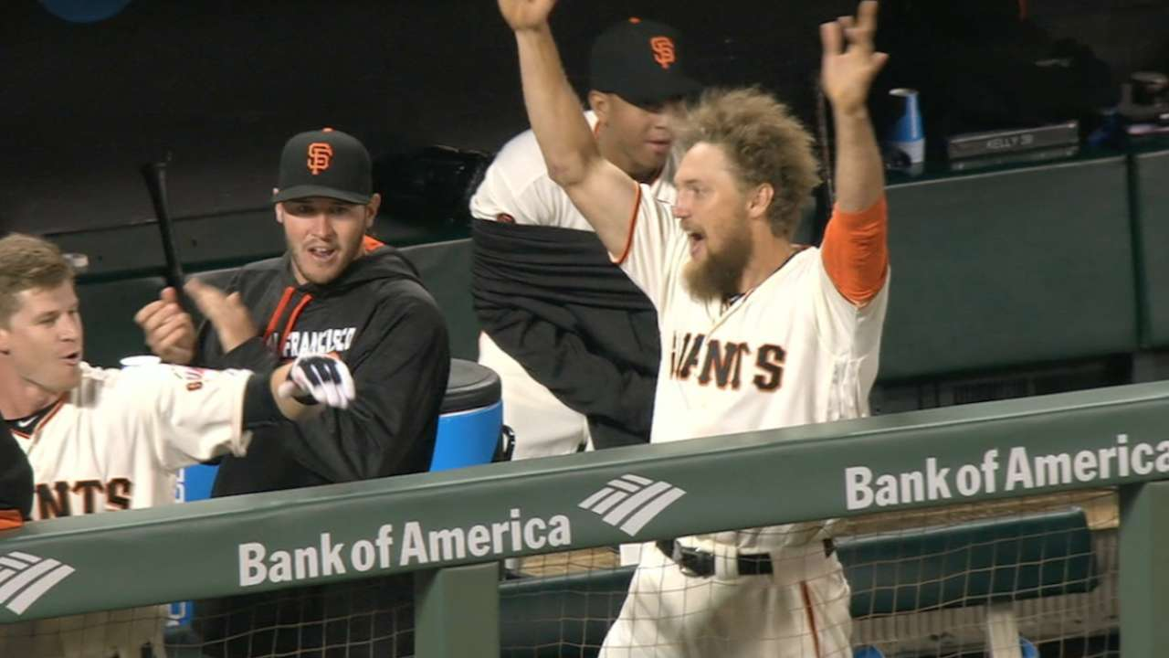 Giants score two, Pence approves