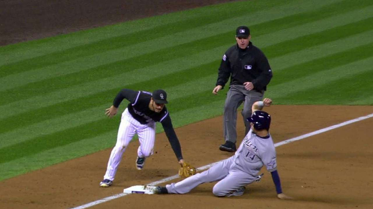 Perez steals third