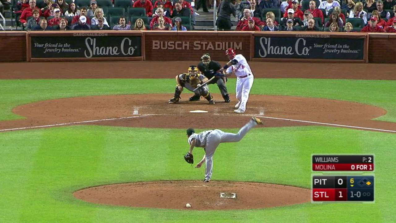 Molina's RBI double to the gap