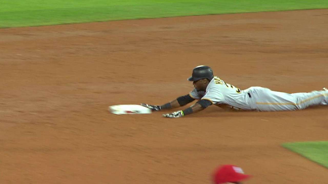 Hanson's first MLB stolen base
