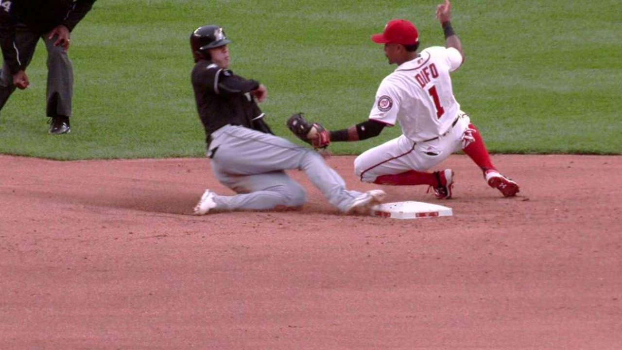 Yelich steals second base