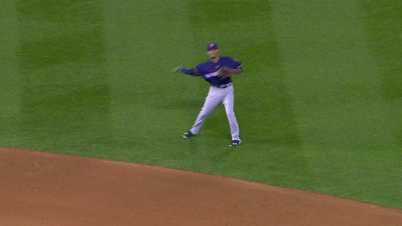 Arcia's glove stands out against Rockies