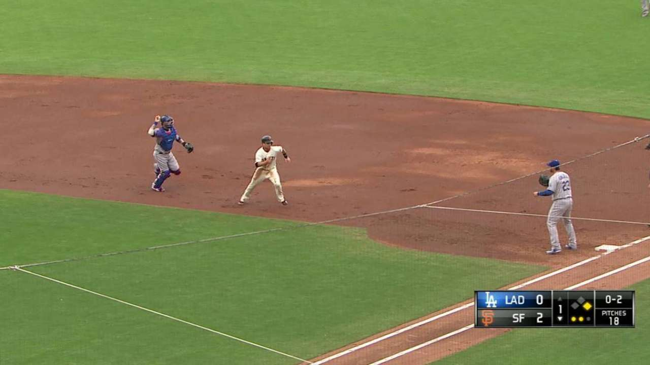 Grandal runs down Posey at first