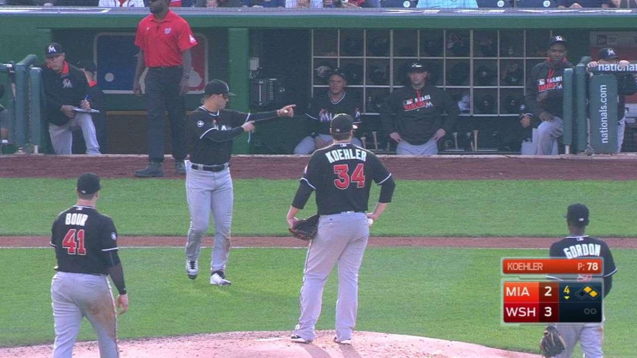 Prado makes a pitching change