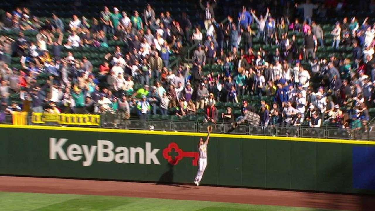 Olson's leaping grab