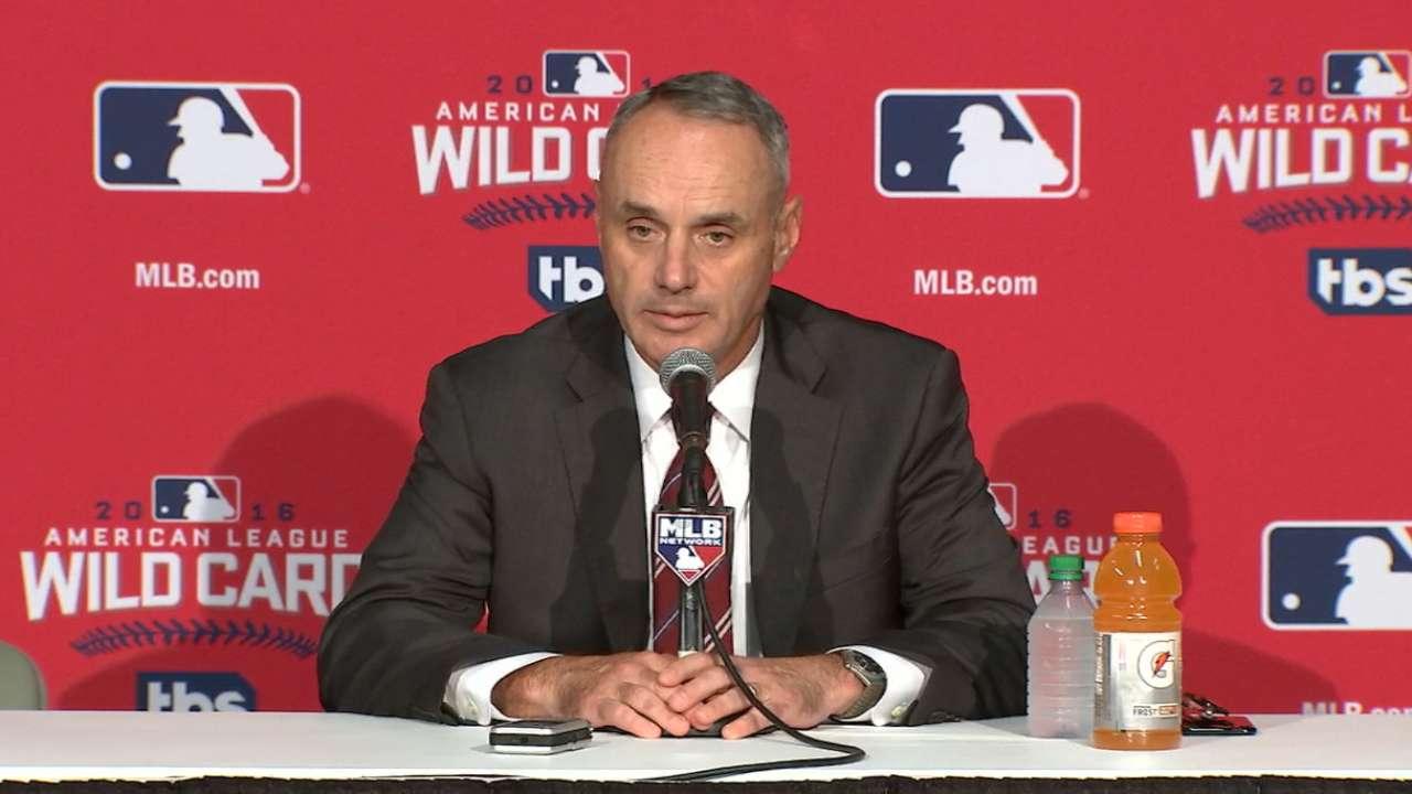 Manfred on baseball hot topics