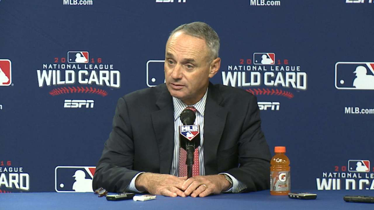 Manfred discusses player safety, pace of play